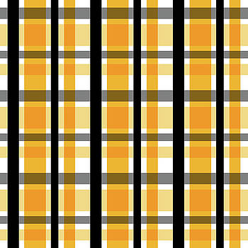 Yellow Gold and Black Plaid Striped Pattern Vrsn 2 by Shelley Neff