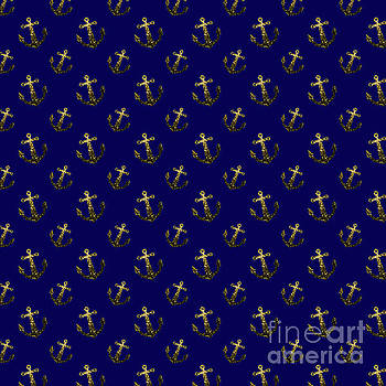 Yellow Gold sparkles Anchor pattern on navy blue by PLdesign