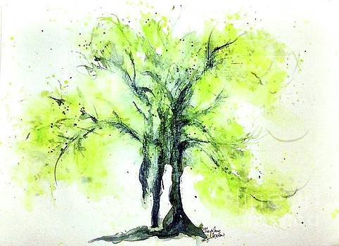 Yellow Green Springtime Tree watercolour by CheyAnne Sexton