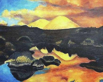 Suzanne  Marie Leclair - Yellow Hill and Orange Sky