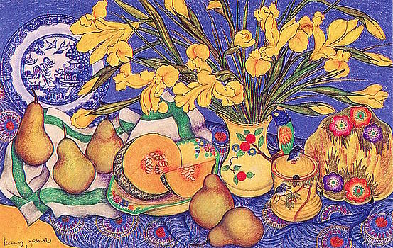 Yellow Irises in the Bird Jug by Richard Lee