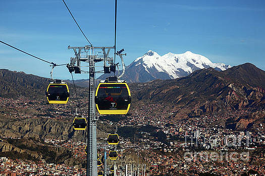 Yellow Line Cable Cars and Mt Illimani La Paz Bolivia by James Brunker