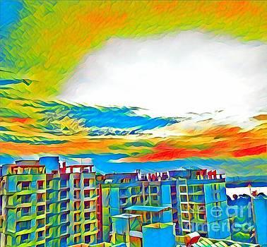 Yellow n Blue Cheerful Sky  by Rizwana Mundewadi