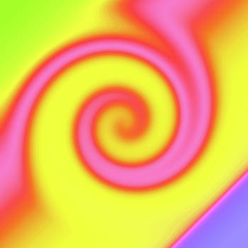 Yellow Pink Swirl Abstract by BrightVibesDesign