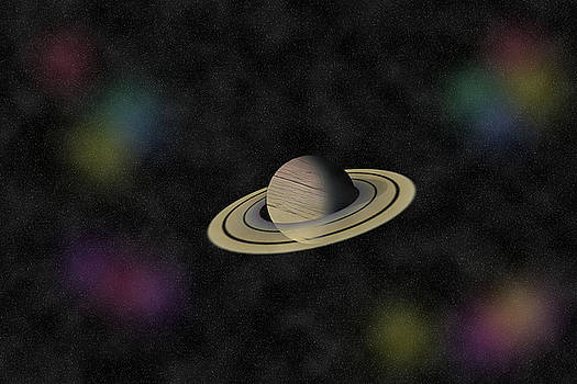 Yellow Planet with rings and shadow by Cathy Harper