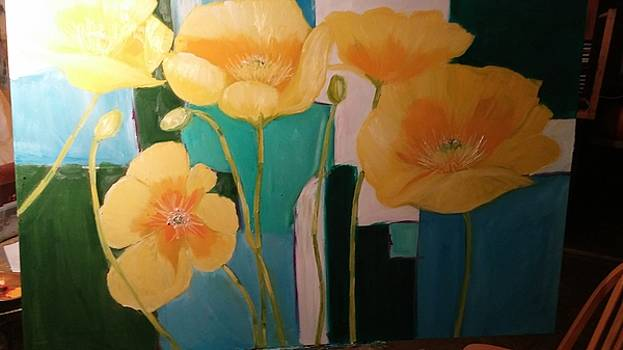 Yellow Poppies on blue by Terrence  Howell