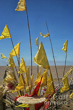 Yellow prayer flags by Patricia Hofmeester