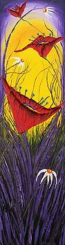 Yellow Purple Sky Poppies by Portland Art Creations