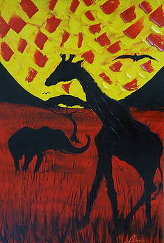 Yellow Red Sun Of The Serengeti by Portland Art Creations