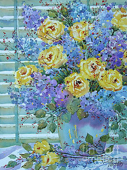 Yellow Roses and Lilacs by Joyce Hicks