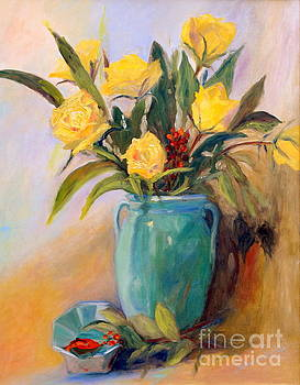 Yellow Roses and Turquoise Vase by Patricia Huff