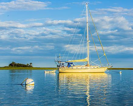 Paula Porterfield-Izzo - Yellow Sail Boat and The Sea