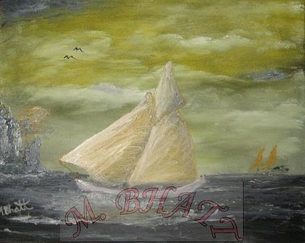 Yellow sail boat by M Bhatt