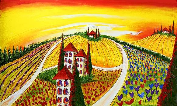 Yellow Sky's Of Tuscany #1 by Portland Art Creations