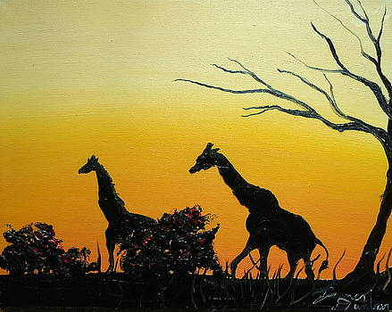 Yellow Sunset Of The Giraffe by Portland Art Creations