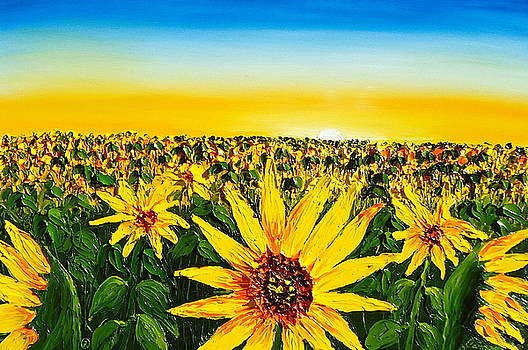 Yellow Sunset Sunflowers by Portland Art Creations
