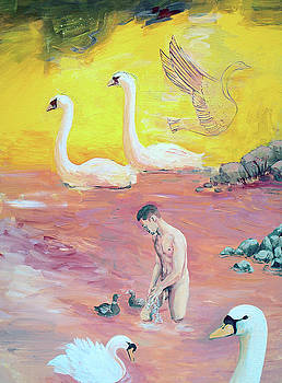Yellow Swans with Love Potions by Rene Capone
