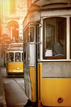 Yellow Trams of Lisbon Portugal  by Carol Japp