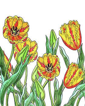 Yellow Tulip Garden Botanical Watercolor by Irina Sztukowski