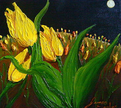 Yellow Tulips By Moon Light by Portland Art Creations