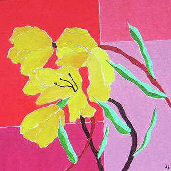 Yellow Tulips on Reds by Martin Silverstein