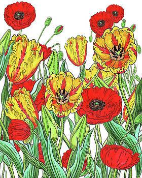 Yellow Tulips Red Poppies Watercolor Garden by Irina Sztukowski