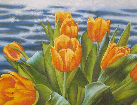 Yellow Tulips Sparkling Water by Karen Coombes