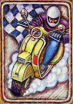 Yellow Vespa by Mark Howard Jones