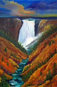 Yellowstone water fall by Esther Rivas
