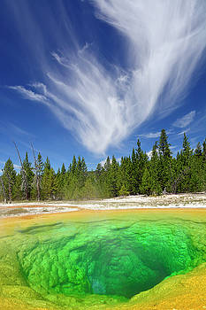 Yellowstone's Morning Glory Pool Pool and Awesome Clouds by Bruce Gourley