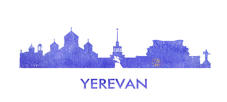 Vyacheslav Isaev - Yerevan city purple skyline