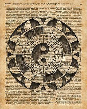Yin And Yang Symbol Taijitu Mandala Vintage Dictionary Art by Anna W