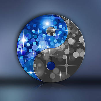 YIN and YANG with BOKEH STARS blue black by EDDA Froehlich