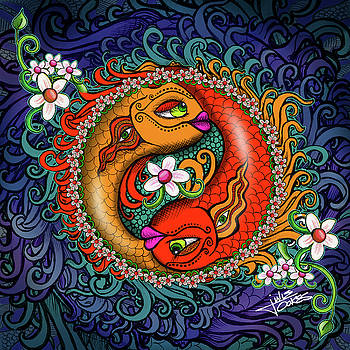 Yin yang koi by Julie Oakes