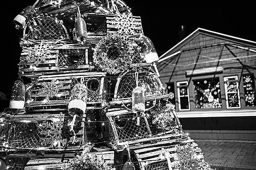Toby McGuire - York ME Lobster Trap Lighthouse Cape Neddick Nubble Maine Black and White