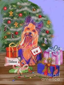 Yorkie Christmas Greetings by Janice Abel