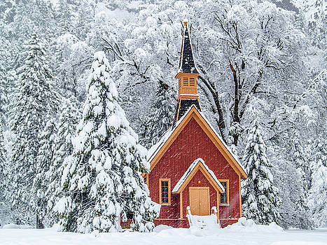Yosemite Chapel In The Snow by Bill Gallagher