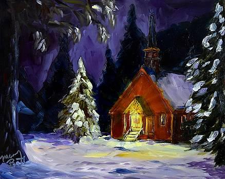 Yosemite Church on a Snowy Night by Mary Beth Harrison
