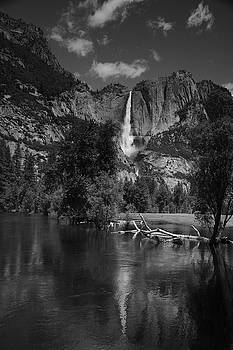Yosemite Falls from Swinging Bridge in Black and White by Raymond Salani III
