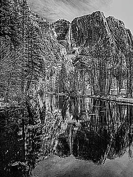 Yosemite Falls From the Swinging Bridge in Black and White by Bill Gallagher