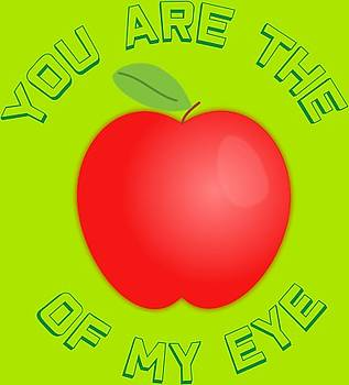 You Are The Apple Of My Eye Green Text - T-Shirt Design by Tin Tran