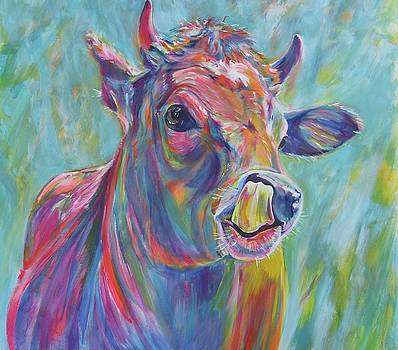 Calf with tongue up his nose  by Karin McCombe Jones