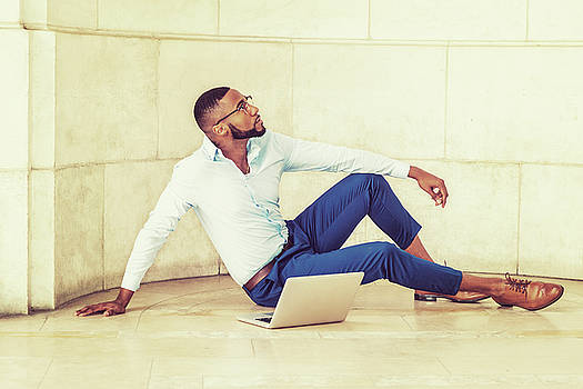 Alexander Image - Young African American Man with beard working on laptop computer 17052132