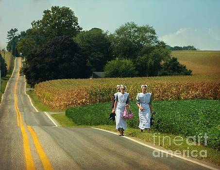 Young Amish Woman Barefoot Stroll by Beth Ferris Sale