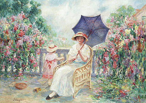 Henri Lebasque - Young Girl and Child on a Terrace