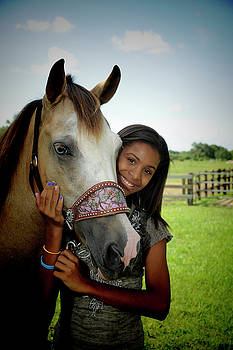 Young girl and her horse by Keith Lovejoy
