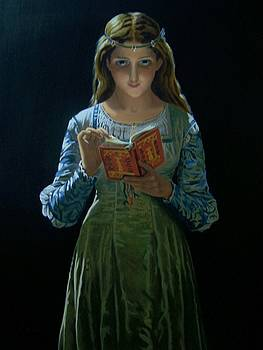 Young Girl reading her Bible by Robert E Gebler