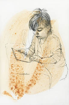 Young girl reading by Roz McQuillan