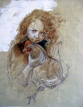 Young girl with chicken by Alida Bothma