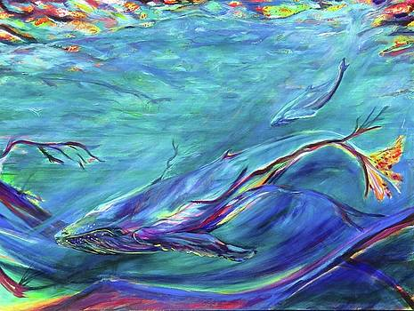 Young humpback whale and calf by Karin McCombe Jones